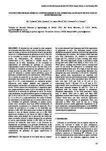 ESTUDIO PRELIMINAR SOBRE EL COMPORTAMIENTO DEL HERBICIDA GLIFOSATO EN DOS SUELOS DE EXTREMADURA