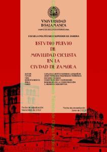 ESTUDIO PREVIO DE MOVILIDAD CICLISTA EN LA CIUDAD DE ZAMORA