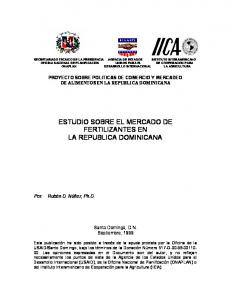 ESTUDIO SOBRE EL MERCADO DE FERTILIZANTES EN LA REPUBLICA DOMINICANA