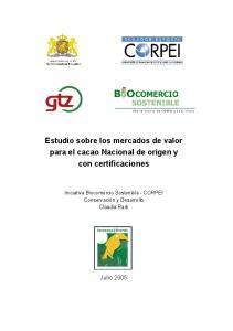 Estudio sobre los mercados de valor para el cacao Nacional de origen y con certificaciones