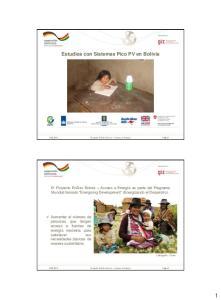 Estudios con Sistemas Pico PV en Bolivia