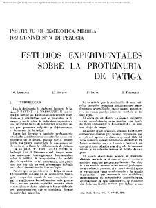 ESTUDIOS EXPERIMENTALES SOBRE LA PROTEINURIA DE FATIGA