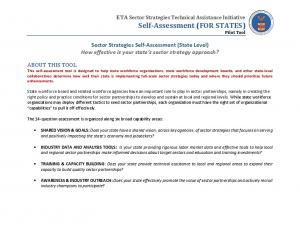 ETA Sector Strategies Technical Assistance Initiative Self-Assessment (FOR STATES) Pilot Tool