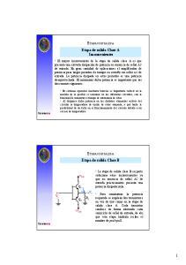 ETAPAS DE SALIDA Etapa de salida Clase A Inconvenientes