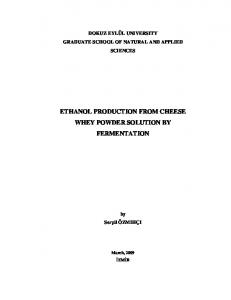 ETHANOL PRODUCTION FROM CHEESE WHEY POWDER SOLUTION BY FERMENTATION