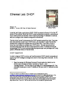 Ethereal Lab: DHCP. DHCP Experiment