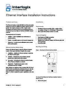 Ethernet Interface Installation Instructions