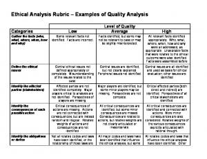 Ethical Analysis Rubric Examples of Quality Analysis