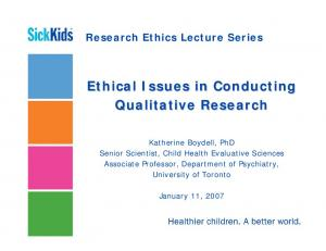 Ethical Issues in Conducting Qualitative Research