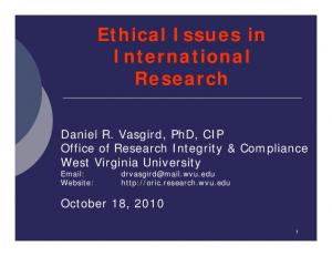 Ethical Issues in International