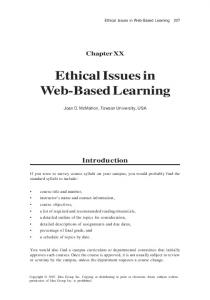 Ethical Issues in Web-Based Learning