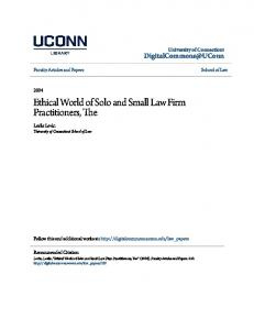 Ethical World of Solo and Small Law Firm Practitioners, The