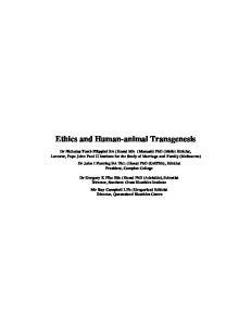 Ethics and Human-animal Transgenesis