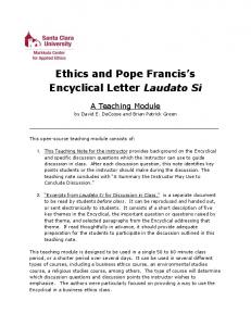 Ethics and Pope Francis s Encyclical Letter Laudato Si