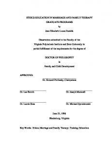 ETHICS EDUCATION IN MARRIAGE AND FAMILY THERAPY GRADUATE PROGRAMS by Jean Elizabeth Lucas Daniels