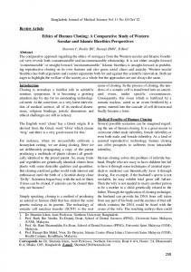 Ethics of Human Cloning: A Comparative Study of Western Secular and Islamic Bioethics Perspectives