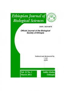 Ethiopian Journal of Biological Sciences