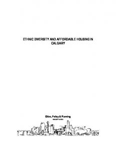 ETHNIC DIVERSITY AND AFFORDABLE HOUSING IN CALGARY