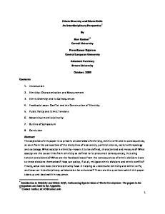 Ethnic Diversity and Ethnic Strife An Interdisciplinary Perspective * Ravi Kanbur Cornell University. Prem Kumar Rajaram Central European University