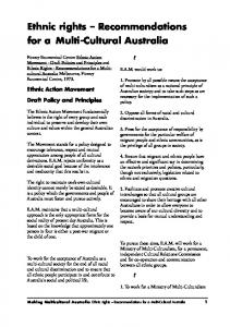 Ethnic rights Recommendations for a Multi-Cultural Australia