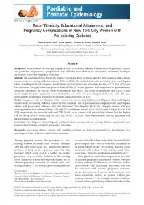 Ethnicity, Educational Attainment, and Pregnancy Complications in New York City Women with Pre-existing Diabetes