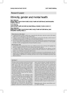 Ethnicity, gender and mental health