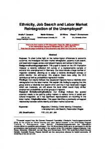 Ethnicity, Job Search and Labor Market Reintegration of the Unemployed*