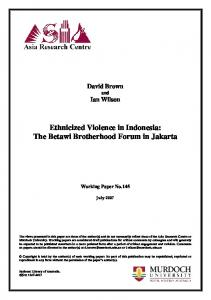 Ethnicized Violence in Indonesia: The Betawi Brotherhood Forum in Jakarta
