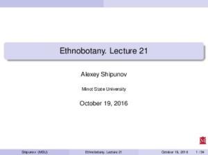 Ethnobotany. Lecture 21