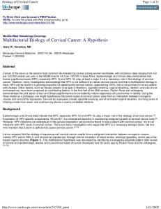Etiology of Cervical Cancer