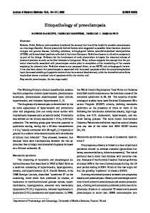 Etiopathology of preeclampsia