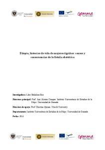 Etiopía, historias de vida de mujeres tigriñas: causas y consecuencias de la fístula obstétrica
