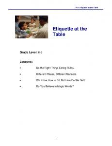 Etiquette at the Table