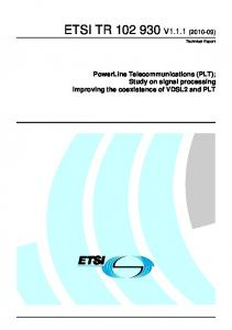 ETSI TR V1.1.1 ( ) Technical Report