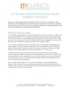 ETX Surfaces Engineered Hardwood Flooring Installation Instructions
