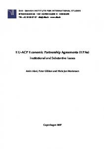 EU-ACP Economic Partnership Agreements (EPAs) Institutional and Substantive Issues