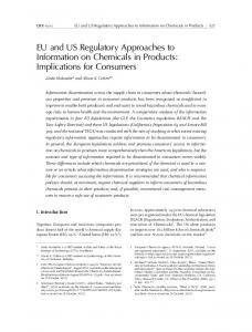 EU and US Regulatory Approaches to Information on Chemicals in Products: Implications for Consumers