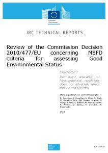EU concerning MSFD criteria for assessing Good Environmental Status