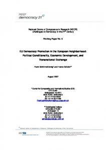 EU Democracy Promotion in the European Neighborhood: Political Conditionality, Economic Development, and Transnational Exchange