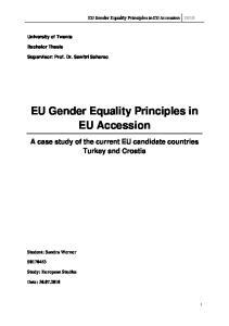 EU Gender Equality Principles in EU Accession