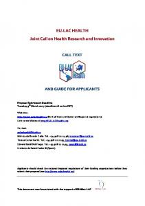 EU-LAC HEALTH Joint Call on Health Research and Innovation