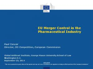EU Merger Control in the Pharmaceutical Industry