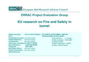 EU research on Fire and Safety in tunnel