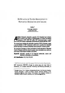 EU Structural Funds Absorption in Romania: Obstacles and Issues