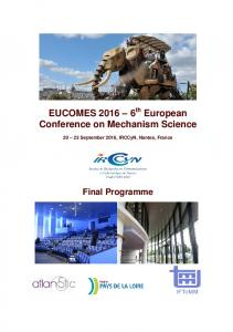 EUCOMES th European Conference on Mechanism Science