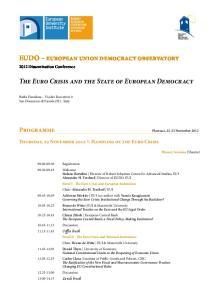 EUDO european union democracy observatory. The Euro Crisis and the State of European Democracy