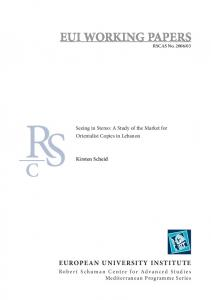 EUI WORKING PAPERS EUROPEAN UNIVERSITY INSTITUTE. Seeing in Stereo: A Study of the Market for Orientalist Copies in Lebanon