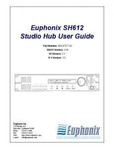 Euphonix SH612 Studio Hub User Guide