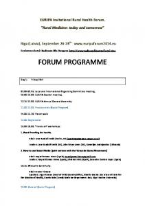 EURIPA Invitational Rural Health Forum. Rural Medicine: today and tomorrow