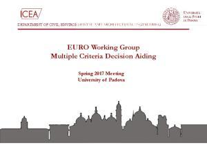 EURO Working Group Multiple Criteria Decision Aiding